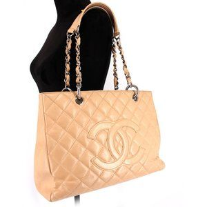 Chanel Caviar Leather Grand Shopping Tote Beige